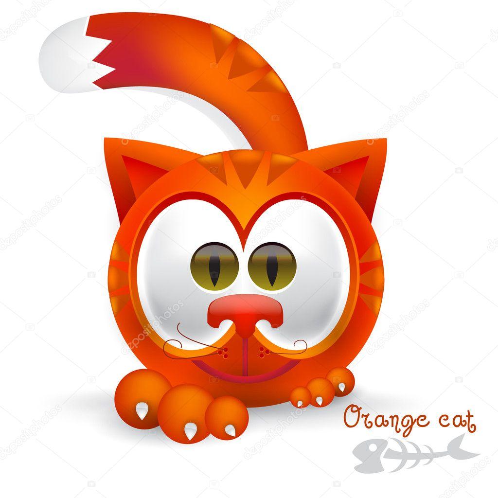 可爱的橙色猫咪卡通– 图库插图
