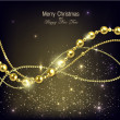 Elegant christmas background with golden garland. — Stock Vector
