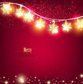 Sfondo di Natale rosso con ghirlanda luminosa. — Vettoriale Stock