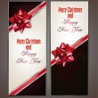 Greeting cards with red bows and copy space. — Stock Vector