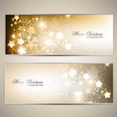 Christmas banners with stars. — Stock Vector
