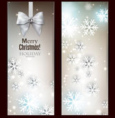 Holiday banners with ribbons. — Stock Vector
