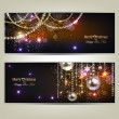 Set of Elegant Christmas banners with golden garland. Vector ill — Stock Vector