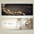 Elegant christmas banners with golden baubles and stars. Vector — Stock Vector #34041859