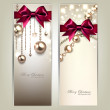 Elegant Christmas banners with golden baubles and red bows. Vect — Stock Vector