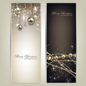 Elegant christmas banners with golden baubles and stars. Vector — Stok Vektör