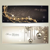 Elegant christmas banners with golden baubles and stars. Vector — Vector de stock