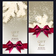 Greeting Christmas cards with bows and copy space. — Stok Vektör