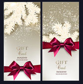 Greeting Christmas cards with bows and copy space. — 图库矢量图片
