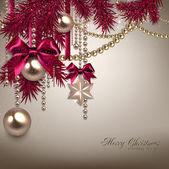 Elegant Christmas background with golden garland. — Stock Vector