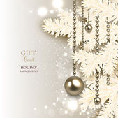Elegant Christmas background with golden garland — Stok Vektör
