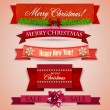 Set of Ribbons, Labels, Tags Merry Christmas and Happy New Year ! — Stock Vector