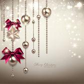 элегантный фон рождество с красными лентами и золотой гирляндой — Cтоковый вектор