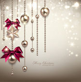 Elegant Christmas background with red ribbons and golden garland — Stok Vektör