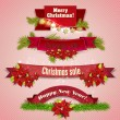Set of  Ribbons, Labels, Tags Merry Christmas and Happy New Year! — Stock Vector