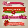 "Set of  Ribbons, Labels, Tags ""Merry Christmas and Happy New Year!"" — Stockvectorbeeld"