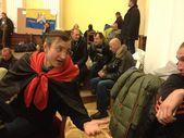 Protesto para a integração europeia na Ucrânia. o quartel-general da revolução. euromaidan em kiev na Ucrânia. Maidan nezalezhnosti. Administração soberana da cidade de Kiev. — Fotografia Stock