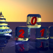 Pyramid as New Year's fur-tree and cubes from ice. — Stock Photo