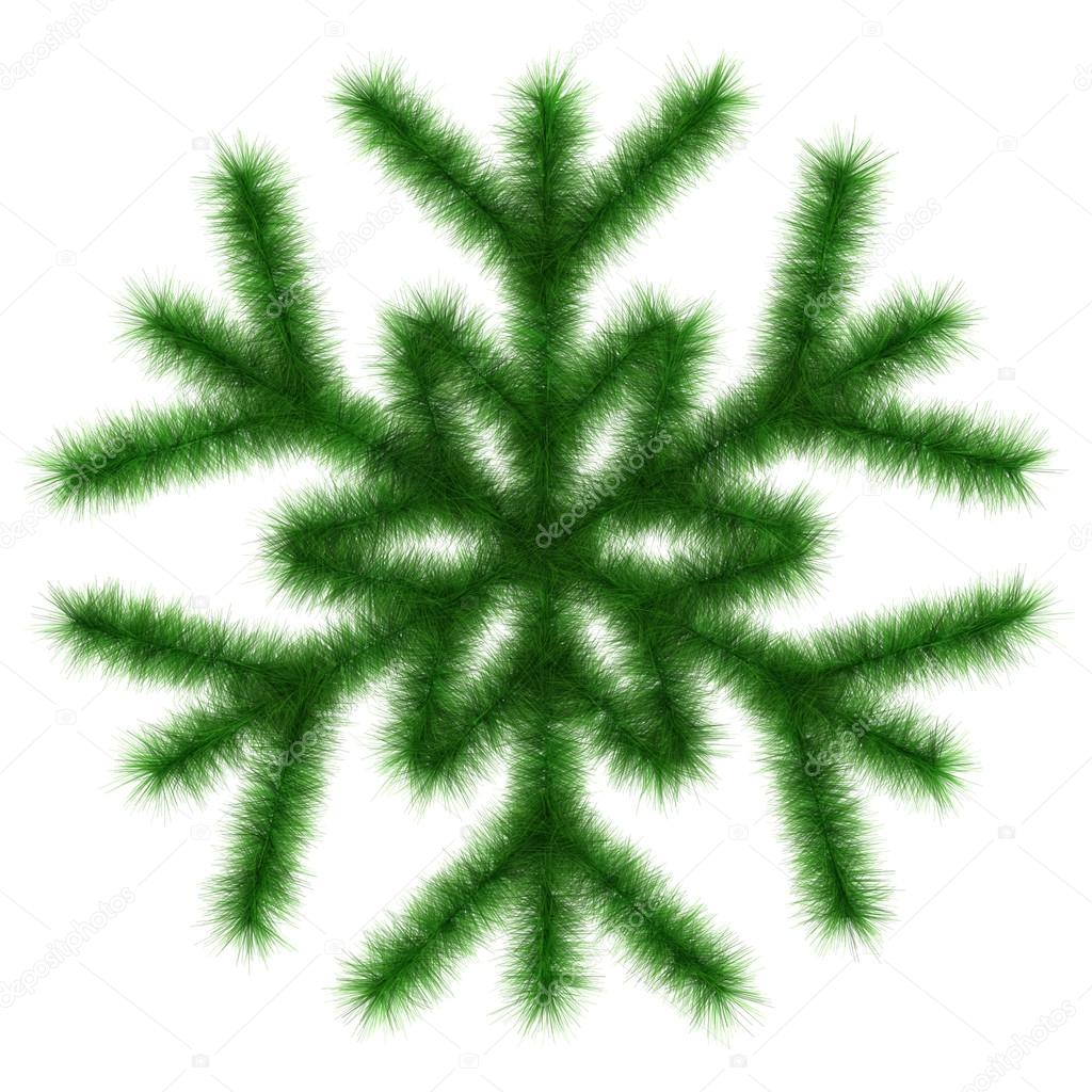 Green snowflake 3d. Isolated on the white — Stock Photo #13865160