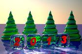 Fundo de vidro abeto-árvores de natal — Foto Stock