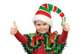 Girl in a suit of elf Santa. Isolated on the white — Stock Photo