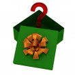 Stock Photo: Green gift box with surprise on white
