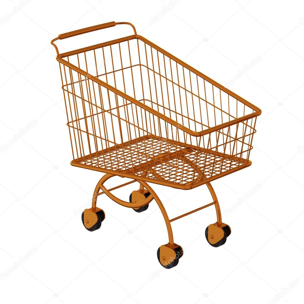Golden shopping cart. Isolated on a white — Stock Photo #14914747