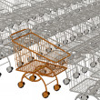 One gold shopping cart and silvery — Stock Photo