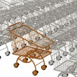 Royalty-Free Stock Photo: One gold shopping cart and silvery