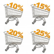 Set of shopping cart with discount — Stock Photo
