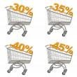 Set of shopping cart with discount — Stock Photo #15619145