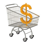 Gold dollar sign in the supermarket cart — Stock Photo