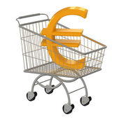 Gold sign Euro in supermarket cart. — Stock Photo