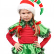 Royalty-Free Stock Photo: The angry little girl - Santa&#039;s elf.