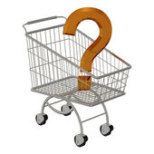 Gold question in shopping cart — Stock Photo
