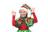 Girl - Santa's elf showing sign OK. — Stock Photo