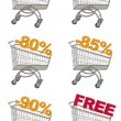 Stock Photo: Set of shopping cart with discount.