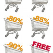 Set of shopping cart with discount. — Stock Photo