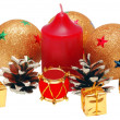 Christmas brilliant spheres and candle — Stock Photo #1843810