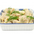 Traditional russian dish - pelmeni (dumplings) — Stock Photo
