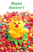 Chicken from sugar over candies — Stock Photo