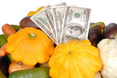 Vegetables and money — Stock Photo