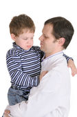Doctor holds on hands of the little boy — Stock Photo