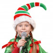Girl - Santa's elf with a microphone — Stock Photo #31924949
