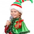 Girl - Santa's elf with a microphone. — Stock Photo #34101695