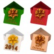 Set of four Christmas empty gift boxes. — Stok fotoğraf