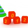 Pyramid and cubes with number 2012. Isolated on the white — Stock Photo #7449666