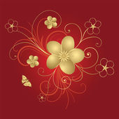Gold floral abstraction — Stock Vector