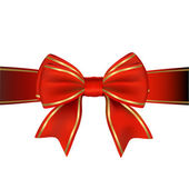 Red & Gold Bow & Ribbon Gift — Stock Vector
