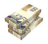 Argent de dollars canadien isolé sur fond blanc. — Photo
